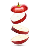 Falling red apple isolated Royalty Free Stock Photo