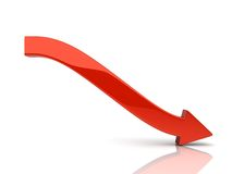 Falling red arrow Stock Photo