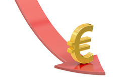 Falling red arrow with symbol of euro, crisis concept. 3D render Stock Images