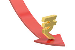 Falling red arrow with symbol of rupee, crisis concept. 3D rende Stock Image