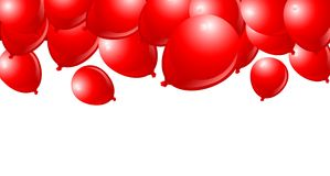 Falling Red Balloons. On White Background with place for copy/text vector illustration