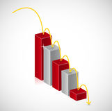 Falling red business graph illustration Stock Photos