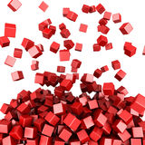 Falling red cubes abstract background. 3D render illustration Royalty Free Illustration