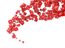 Falling red cubes with percent Royalty Free Stock Images