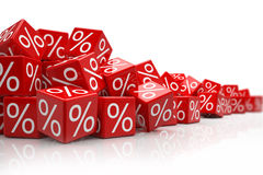 Falling red cubes with percent signs Stock Image