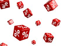 Falling red cubes with percent signs on white Royalty Free Stock Images