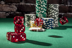 Falling Red Dice Royalty Free Stock Images