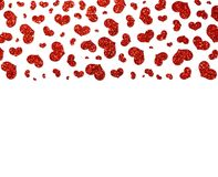 Falling red glittery hearts on a white background. royalty free stock image