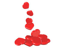 Falling Red Hearts Stock Photos