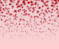 Falling red hearts isolated on pink background. Valentines Day or Women day Card. Love Decorative v. Ector illustration Royalty Free Illustration