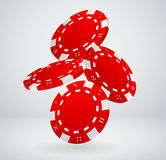 Falling Red Poker Chips Royalty Free Stock Photography