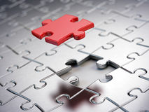 Falling Red puzzle piece Stock Photos