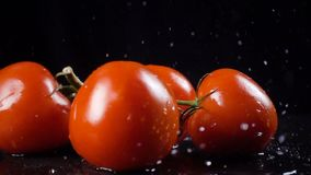 Falling red tomatoes with water splash, slow motion stock footage