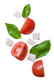 Falling red tomatoes, mozzarella and basil Stock Images