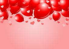 Falling Red valentine Balloons Royalty Free Stock Photography