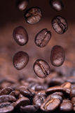 Falling roasted coffee beans on coffee background Stock Photo