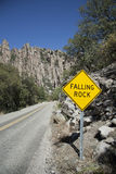 Falling Rock Sign in Chiricahua Mountains Royalty Free Stock Photos