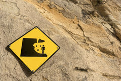 Falling rock sign Royalty Free Stock Photos