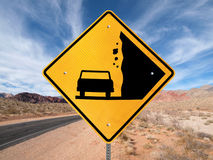 Falling Rocks Ahead. Falling Rock warning sign on lonely Nevada highway Royalty Free Stock Photos