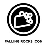 Falling rocks icon vector isolated on white background, logo con. Cept of Falling rocks sign on transparent background, filled black symbol stock illustration