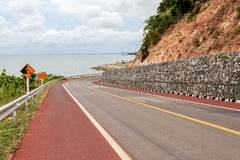 Falling Rocks Protection of Winding Road Royalty Free Stock Photography