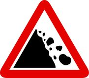 Falling rocks sign Stock Photography