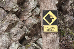 Falling Rocks Sign Royalty Free Stock Images