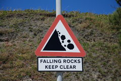 Falling rocks signage, Folkestone Royalty Free Stock Photos