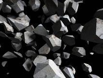 Falling rocks stone fragments on dark background Stock Photography
