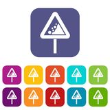 Falling rocks warning traffic sign icons set Royalty Free Stock Photography