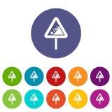 Falling rocks warning traffic sign set icons Royalty Free Stock Images
