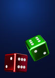 Falling Rolling Dices Colorful Stock Images