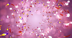 Falling Romantic Red Pink Yellow Sakura Flower Petals Flying Background Loop 4k stock footage