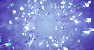 Falling Romantic Violet Blue Green Flower Petals Flying Background Loop 4k stock video footage