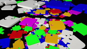 Falling, rotating abstract puzzle pieces in multicolor stock footage