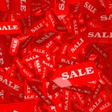 Falling sale tags. 3D Illustration of red SALE tags falling though the air Stock Photography