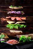 Falling sandwich with vegetable, meat and cheese, Levitating, ru royalty free stock images