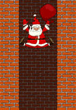 Falling Santa Claus. In the chimney, vector Royalty Free Stock Photos