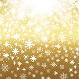Falling shining snow or snowflakes on gold background. Vector.  Stock Photos