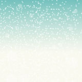 Falling Shining Snowflakes and Snow on Blue Background.  Stock Image