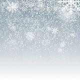 Falling Shining Snowflakes and Snow on Blue Background. Christmas, Winter and New Year Background. Realistic Vector Stock Photo