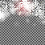 Falling Shining Snowflakes and Snow on Transparent Background. C Royalty Free Stock Photography