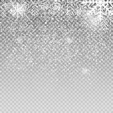 Falling Shining Snowflakes and Snow on Transparent Background. Christmas, Winter  New Year . Realistic Vector Stock Photos