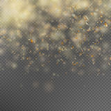 Falling Shiny Gold Glitter Confetti. EPS 10. Falling Shiny Gold Glitter Confetti  on transparent background. EPS 10 vector file included Stock Photos