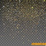 Falling Shiny Gold Glitter Confetti isolated on transparent background. Stock Photography