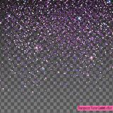 Falling Shiny purple Glitter Confetti isolated on transparent background. Light gray background. Stardust spark the explosion on a transparent background Royalty Free Stock Photo
