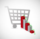 falling shopping sales. business graph Stock Image