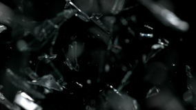 Falling Shreds Glass with Slow Motion