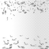 Falling silver confetti on transparent background. Vector holiday design element. Falling silver confetti on transparent background. Vector holiday design Royalty Free Stock Photo
