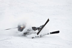 Falling skier. Royalty Free Stock Image
